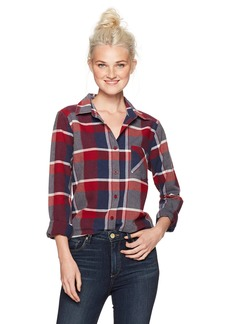RVCA Women's Pops Long Sleeve Woven Shirt Burnt red M