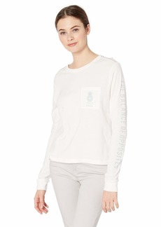 RVCA Womens Rising Pineapple Long Sleeve T-Shirt vintage white M