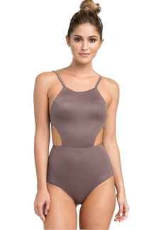 RVCA Women Solid One Piece Swimsuit Brown XS/6