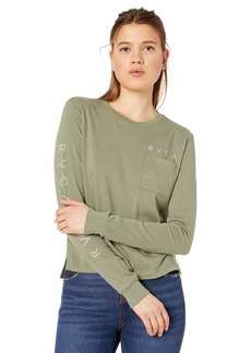 RVCA Women's Upside Scoop Neck Long Sleeve T-Shirt  L