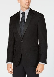 Ryan Seacrest Distinction Men's Modern-Fit Stretch Black Floral Jacquard Dinner Jacket, Created for Macy's
