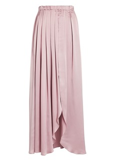 Sablyn Masha Pleated Silk Midi Skirt