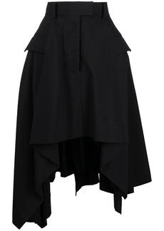 Sacai asymmetric draped high-waisted skirt