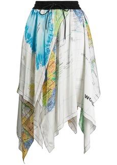 Sacai asymmetric hem map print skirt