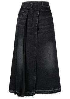 Sacai asymmetric pleated denim skirt