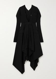 Sacai Asymmetric Ribbed Cotton-blend And Cady Dress