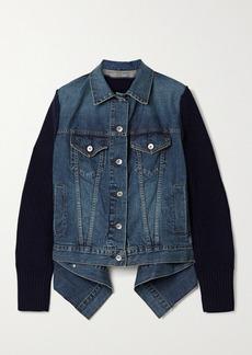 Sacai Asymmetric Shell-trimmed Paneled Denim And Ribbed Wool Jacket