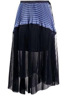 Sacai asymmetric striped panel skirt