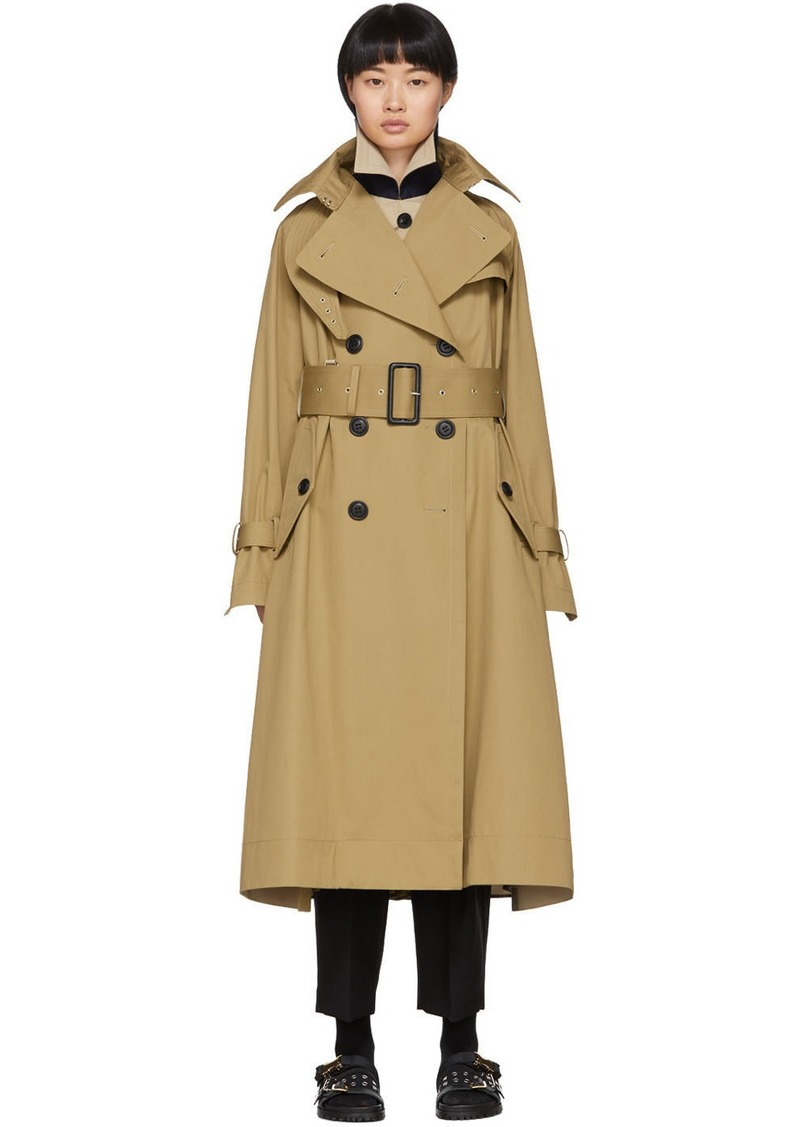 Sacai Beige Layered Trench Coat