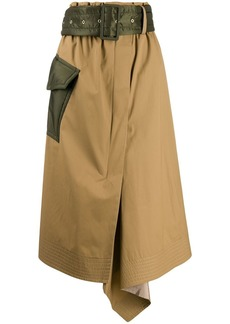Sacai belted midi-skirt