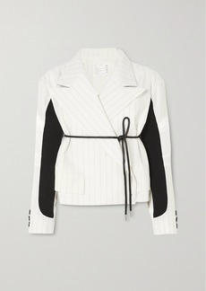 Sacai Belted Paneled Pinstriped Wool-blend And Shell Jacket