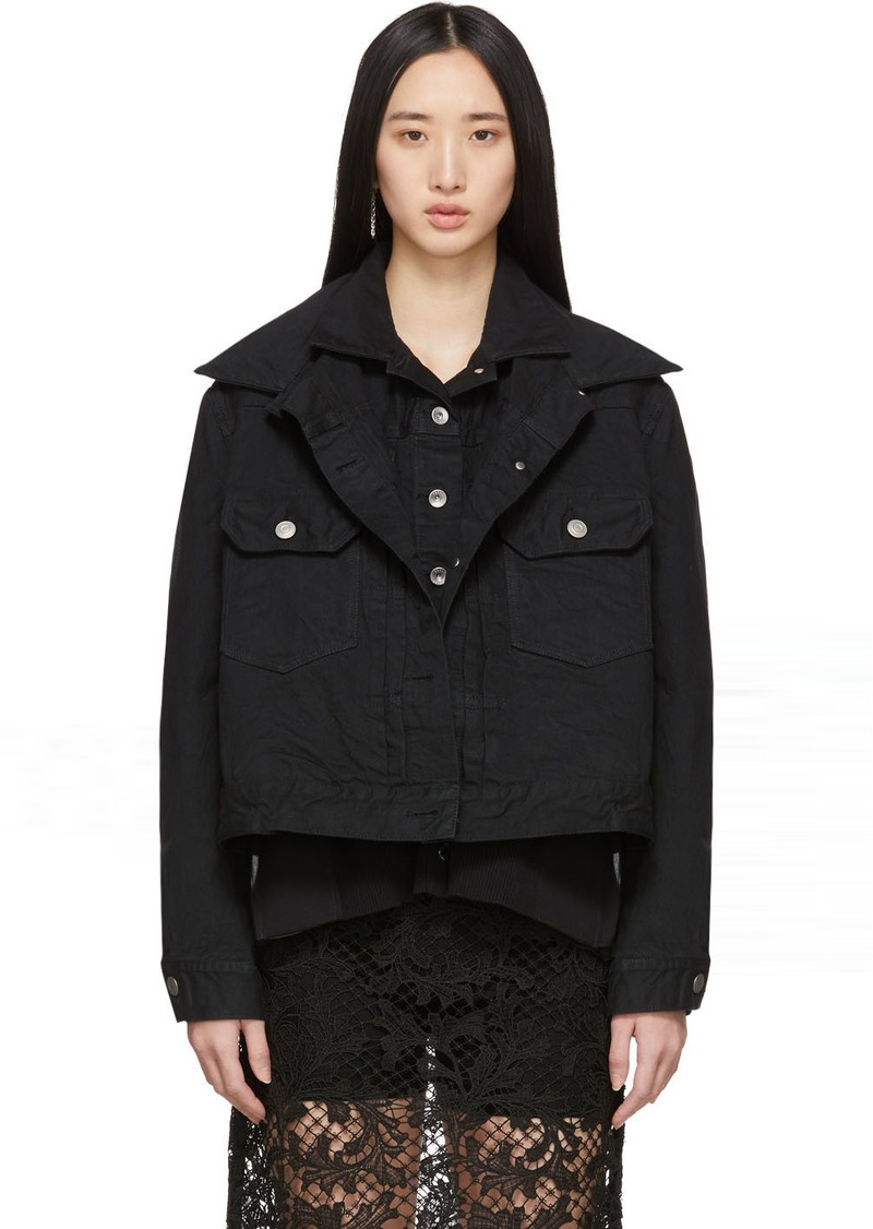Sacai Black Denim Double-Layer Jacket