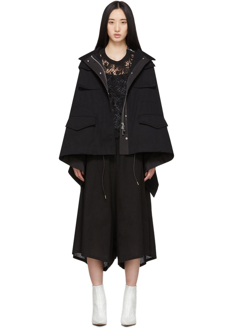Sacai Black Draped Back Jacket