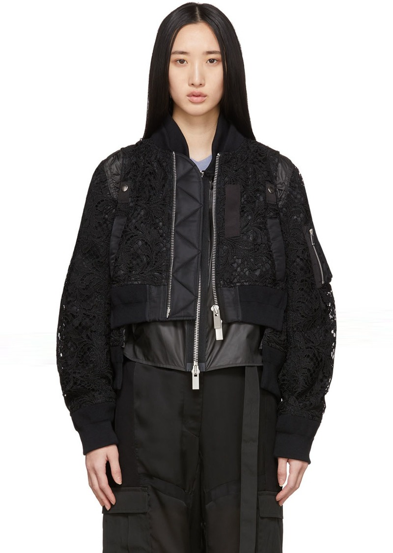 Sacai Black Embroidered Lace Bomber Jacket