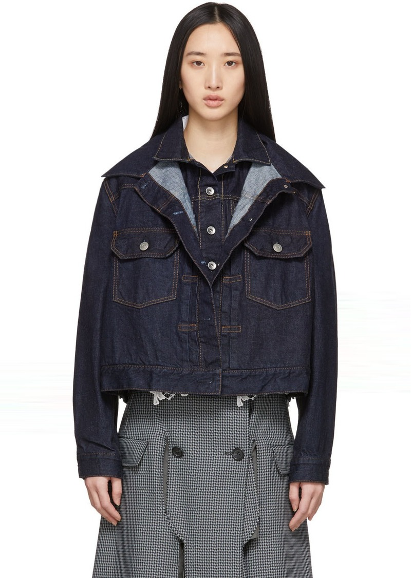 Sacai Blue Denim Double-Layer Jacket