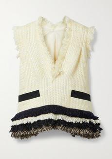 Sacai Canvas-trimmed Frayed Tweed Top