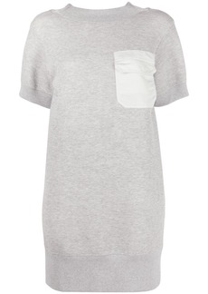 Sacai contrast chest pocket mini dress