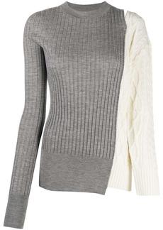 Sacai contrast knit round neck jumper