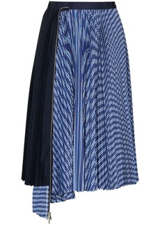 Sacai contrasting-panel pleated midi skirt