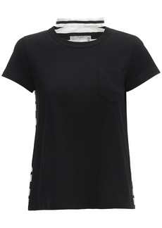 Sacai Cotton Blend T-shirt W/ Pleats