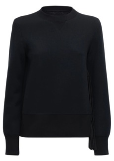 Sacai Cotton Jersey Sweatshirt W/pleats