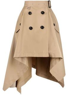 Sacai curved-hem A-line skirt