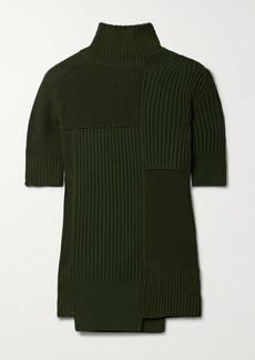 Sacai Cutout Paneled Ribbed Cotton-blend Turtleneck Sweater