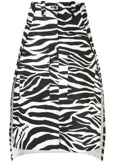 Sacai deconstructed zebra-print skirt