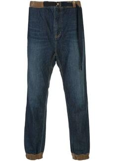 Sacai denim elasticated cuff jeans