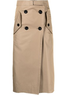 Sacai double-breasted midi skirt