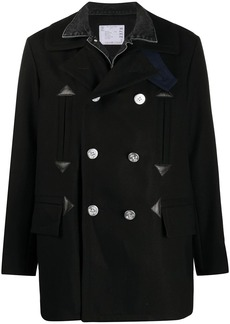 Sacai double-breasted panelled coat