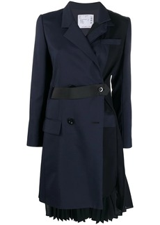 Sacai double-breasted pleated coat