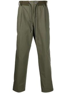 Sacai drawstring-waist cotton-blend trousers