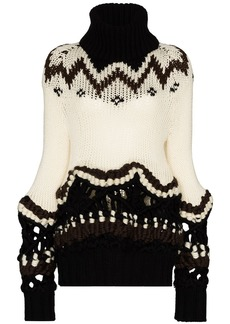 Sacai fair isle intarsia-knit jumper