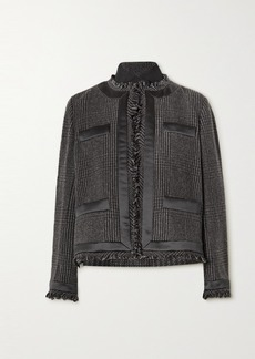 Sacai Fringed Satin-trimmed Prince Of Wales Checked Wool-blend And Quilted Shell Jacket