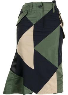 Sacai geometric panelled midi skirt