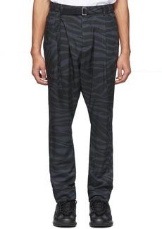 Sacai Grey & Black Satin Zebra Trousers