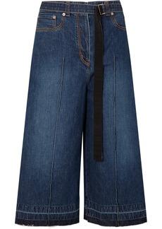 Sacai Grosgrain-trimmed denim culottes