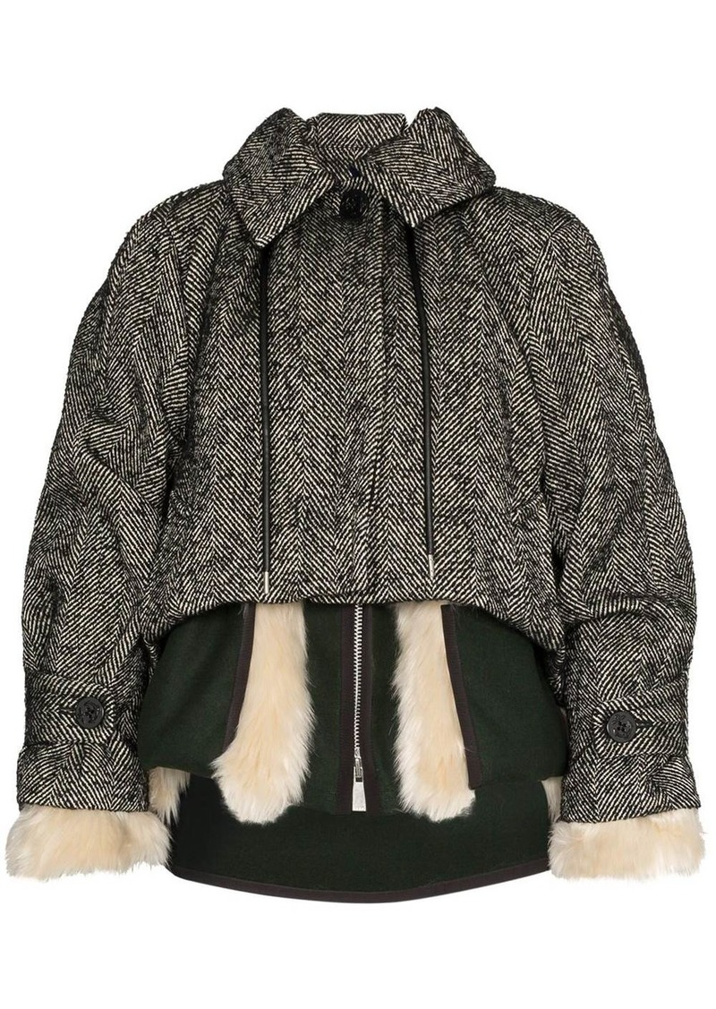 Sacai herringbone layered jacket