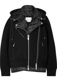 Sacai Hooded Quilted Shell-paneled Cotton-blend Jersey Biker Jacket