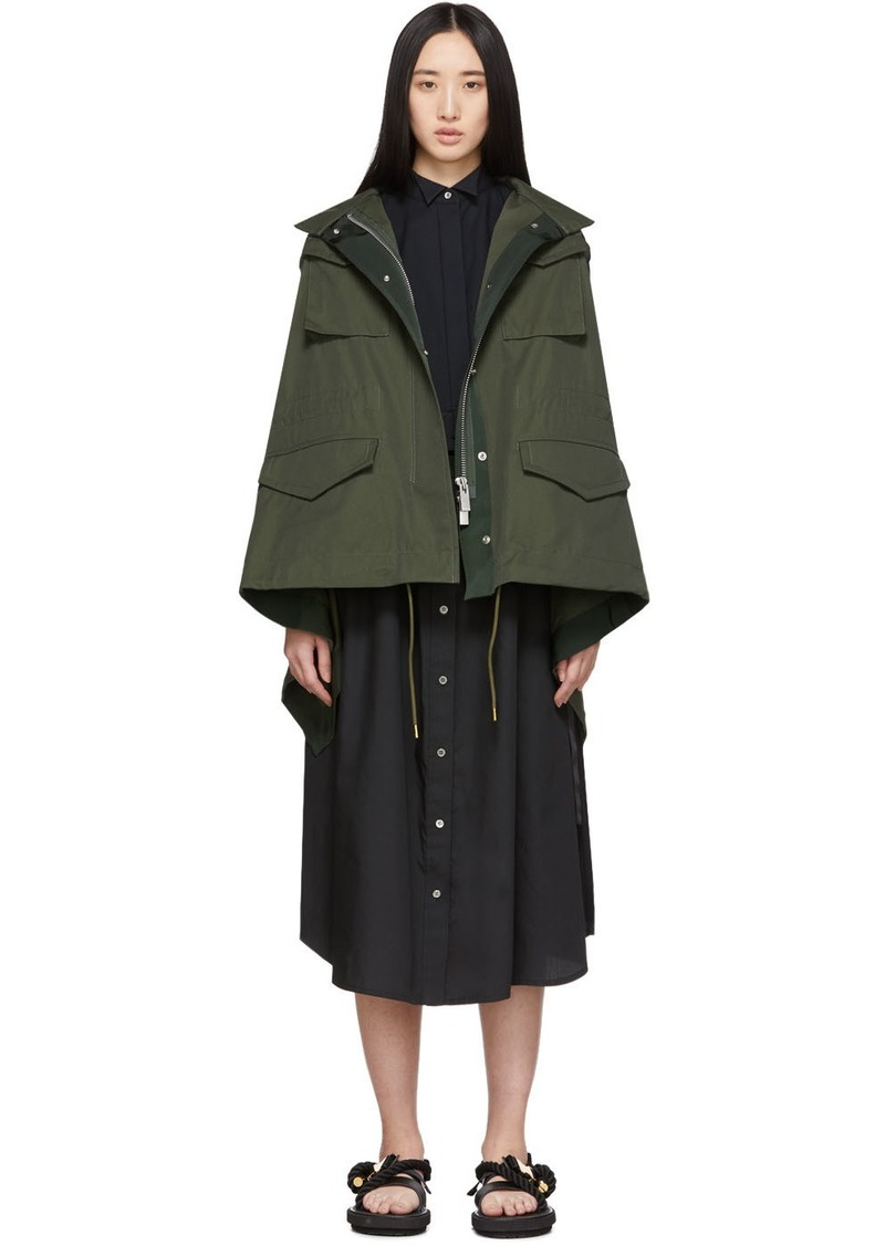 Sacai Khaki & Navy Draped Back Jacket
