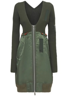 Sacai Knit Cotton & Nylon Twill Zip-up Dress