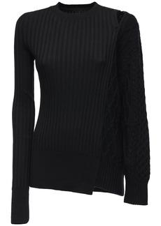 Sacai Knit Rib Wool Sweater W/ Cutout