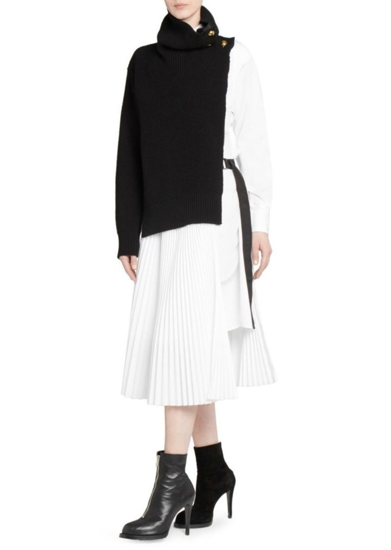 53443fc5da Sacai Knit Shirting Combo Midi Dress   Dresses