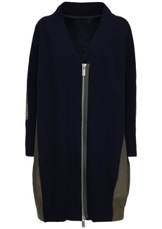 Sacai Knit Wool & Nylon Zip-up Long Cardigan