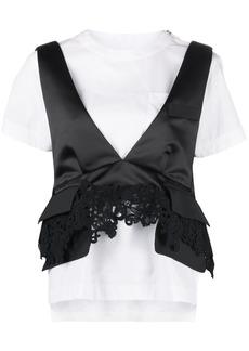 Sacai lace-detail layered T-shirt