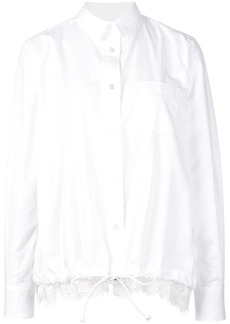 Sacai lace trim drawstring shirt