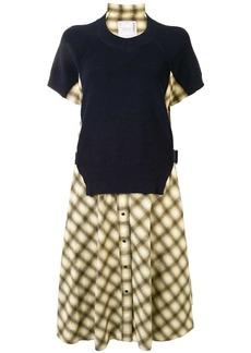Sacai layered check print midi dress