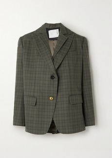 Sacai Layered Checked Wool-blend And Cotton Blazer
