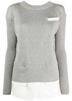 Sacai layered-look ribbed jumper